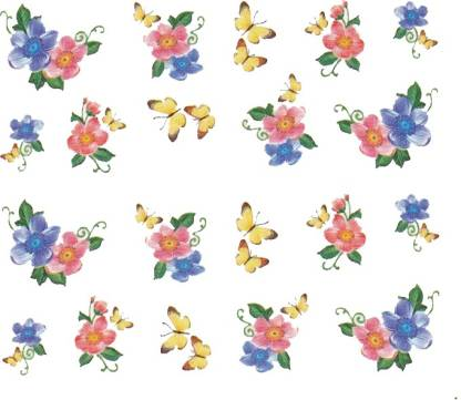 SENECIO™ Rose Bunch Multicolor Style - 6 Nail Art Manicure Decals Water Transfer Stickers Sheet