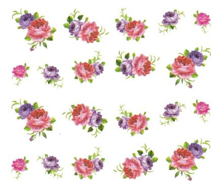 SENECIO™ Rose Bunch Multicolor Style - 2 Nail Art Manicure Decals Water Transfer Stickers Sheet