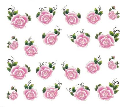 SENECIO™ Rose Bunch Multicolor Style - 19 Nail Art Manicure Decals Water Transfer Stickers Sheet