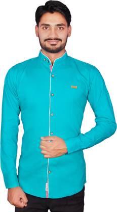 ROSSO FEM Men Solid Casual Green Shirt