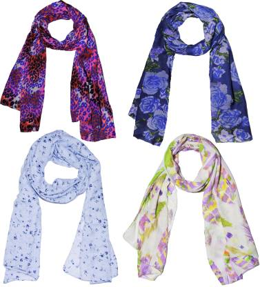 Weavers Villa Printed Polycotton Combo of 4 Scarves, Stoles, Dupattas Soft Summer Women Scarf
