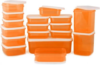 MASTER COOK 17 Pieces Orange  - 150 ml, 500 ml, 200 ml, 700 ml, 330 ml, 1630 ml Polypropylene Fridge Container