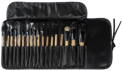 LEEGOAL Professional Bridal Eye Lip Powder Face Makeup Brush Set With Leather Bag ( ,black)