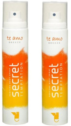 Secret Temptation Te Amo Breeze Perfume Pack of 2 Deodorant Spray - For Women  (240 ml, Pack of 2)