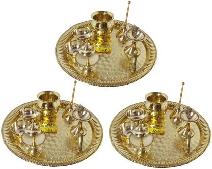Shivshakti Arts Handmade Pure Set Of 3 Brass Pooja Thali Set 21 pcs Poojan Purpose Brass