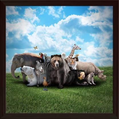 Animals Framed Wall Art Painting Print Canvas