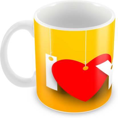 "Tuelip ""I Love You"" Classic Stylish Printed Tea & Coffee Ceramics 350 ML Ceramic Coffee Mug"