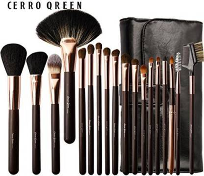 Cerroqreen Makeup Brushes Cosmetic Brush Set With Goat Hair Pony Hair Leather Traverl Pouch Bag Case (golden)