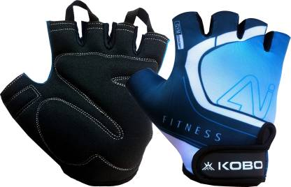 KOBO Exercise Weight Lifting Grippy Hand Protector Padded Training Gym & Fitness Gloves
