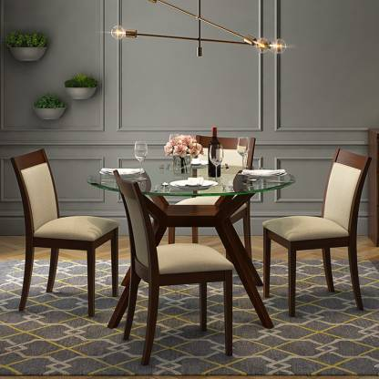 Urban Ladder Wesley Round Glass Top, Dining Table Glass Round