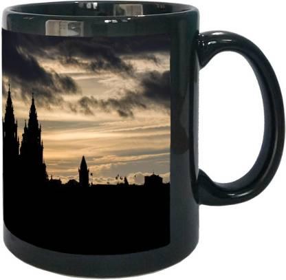 Arkist santiago de compostela cathedral silhouette wall Black Ceramic Coffee Mug
