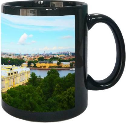 Arkist saint petersburg view wallpaper Black Ceramic Coffee Mug