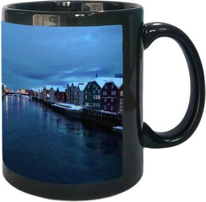 Arkist trondheim am nidelv whrend der polarnacht wallpa Black Ceramic Coffee Mug