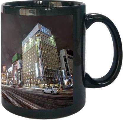 Arkist sapporo city hokkaido japan Black Ceramic Coffee Mug