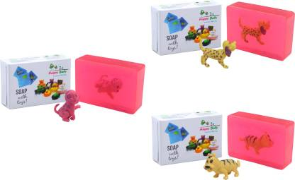 Happy Baby Luxurious Kids Soap With Toy Pink (Pack Of 3)