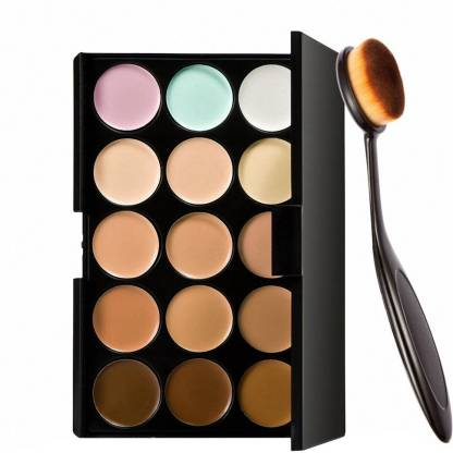 adbeni Imported 15 Colors Contour Face Creme Makeup Concealer Palette + Make up Brush Pack of 2-C357