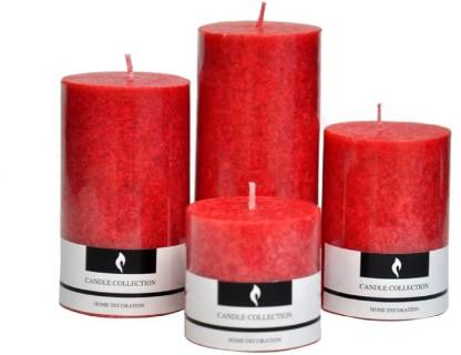 Caryn Scented Pillar Set Candle (Red, Pack of 4) Candle