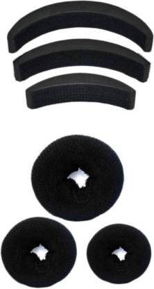 Chanderkash donut and banana bumpits hair Accessory set black Hair Accessory Set
