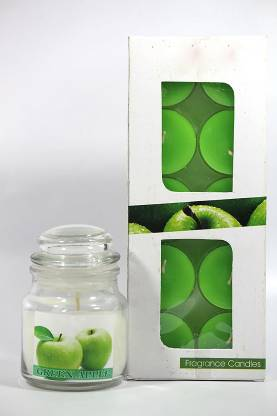 Gidwani International Highly Fragrance Jar Candle with pack of 10 Scented Tealights (Green Apple) Candle