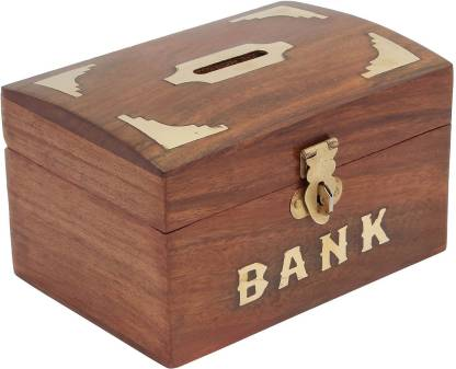 Craft Art India Brown Handmade Wooden Rectangular Money Box Coin Bank