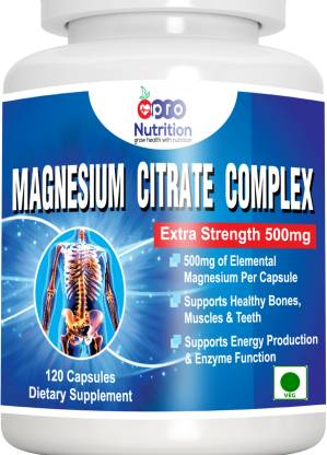 PRONUTRITION Magnesium Citrate Capsules – Powerful 500mg – 120 Capsules - Supplement Support Healthy Bones, Muscles, Teeth, and Energy & Relaxation
