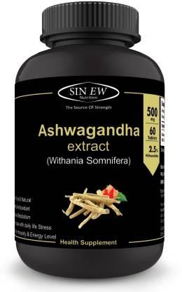 SINEW NUTRITION Ashwagandha (60 No.) Tablets� General Wellness