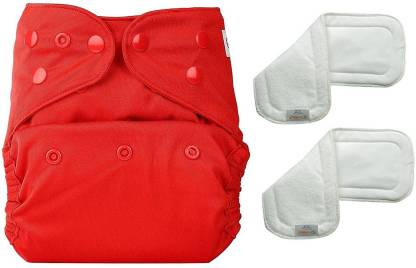 bumberry Adjustable Red Reusable Cloth Diaper Cover With 2 Wet Free Inserts For Babies (3-36 Months)