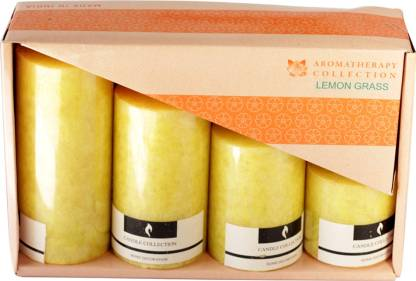 Skycandle.in Lemon Grass Scented Marble Pillar Set (light Yellow, Pack of 4) Candle