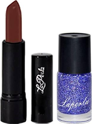 La Perla Blue Sparkle Nail Paint & Crrolla Chocolate Brown Lipstick