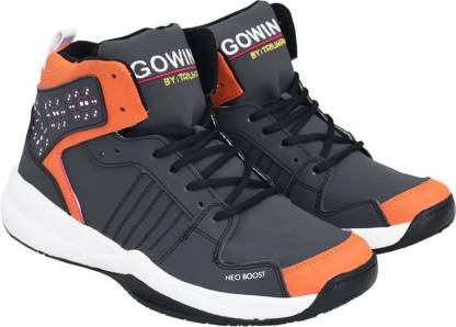 Gowin By Triumph Neo Boost Black, Orange Basketball Shoes For Men
