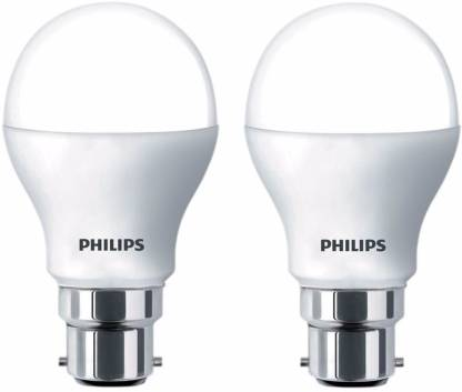 Philips 8.5 W Round B22 LED Bulb  (White, Pack Of 2)