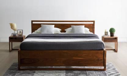 Amber Teak Finish Solid Wood King Bed – Furnspace