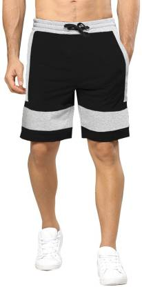 Tripr Solid Men Black, Grey Regular Shorts