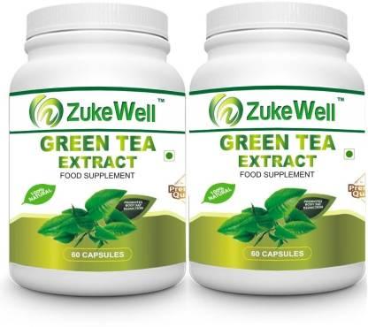Zukewell Green Tea Extract 500 mg (60% Polyphenols) Fat Burner-60 Pure Veg Capsules Pack of 2 (60 g)