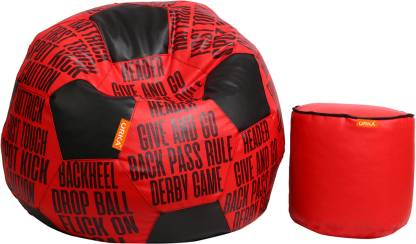 ORKA XXL Chair Bean Bag Cover  Without Beans  Red, Black