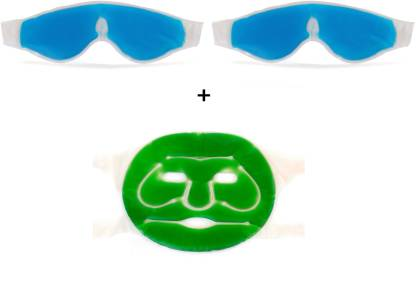 Healthllave 2 Cooling Gel Eye Mask And 1 Face Mask with Strap | Aloe Vera Gel