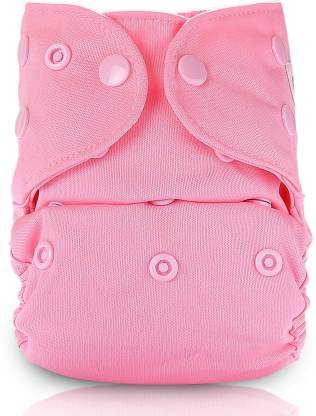 bumberry Adjustable Baby Pink Reusable Cloth Diaper Cover With 1 Natural Bamboo Insert For New Born Babies (0-6Months)