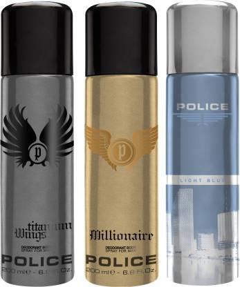POLICE Millionaire & Wings Titanium & Light Blue Deodorant Spray  -  For Men