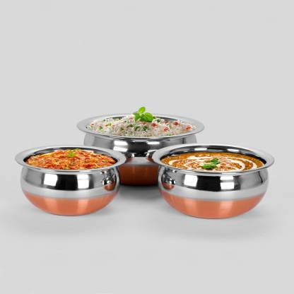 Sumeet 3Pc Set of Stainless Steel Copper Bottom Prabhu Chetty / Cookware / Serveware / Handi / POT / Cook & Serve - Size 3 to 5 Handi 1 L
