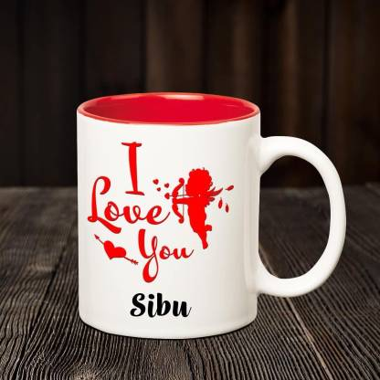 CHANAKYA I Love you Sibu romantic inner red coffee name mug Ceramic Coffee Mug