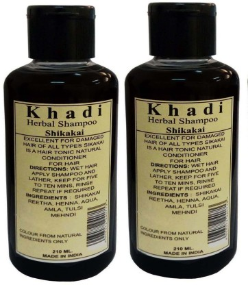 Parvati Khadi Gramudyog Khadi Herbal Shikakai Shampoo Pack of 2 (420 ml)