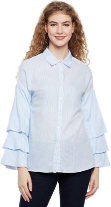 Oxolloxo Women Striped Casual Blue Shirt