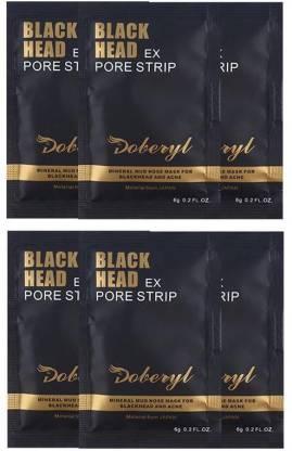 Doberyl EX Pore Strip Facial Blackhead Remover Mineral Mud (6 Pack 36G)