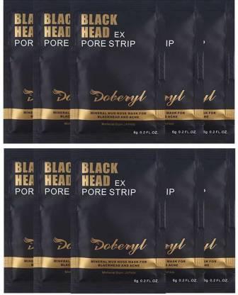 Doberyl EX Pore Strip Facial Blackhead Remover Mineral Mud (10 Pack 60G)