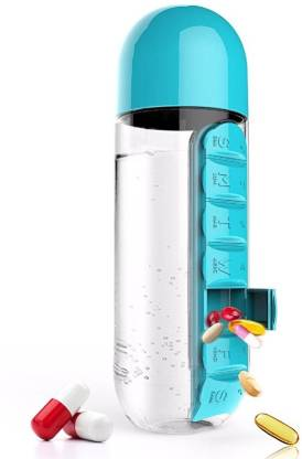 VibeX ™ Daily Organizer With Water Bottle Weekly Seven Compartments With Drinking Bottle Water Plastic Leak-Proof Cup Pill Box
