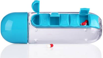 VibeX ® Water Bottle with Daily Organizer Pill Box