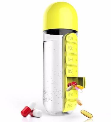 VibeX ® Portable Plastic Water Bottle with Built-in Daily or Vitamin Organizer Pill Box
