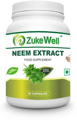 Zukewell Neem Extract 500 mg (60 Pure Veg Capsules) For Skin Care-Pack of 1