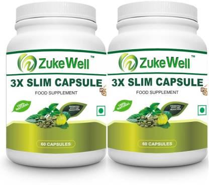 Zukewell Slim Capsule 500 mg (60 Pure Veg Capsules) For Weight Loss-Pack of 2