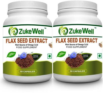 Zukewell Flax Seed Extract 500 mg (60 Pure Veg Capsules) For Joint Pain-Pack of 2
